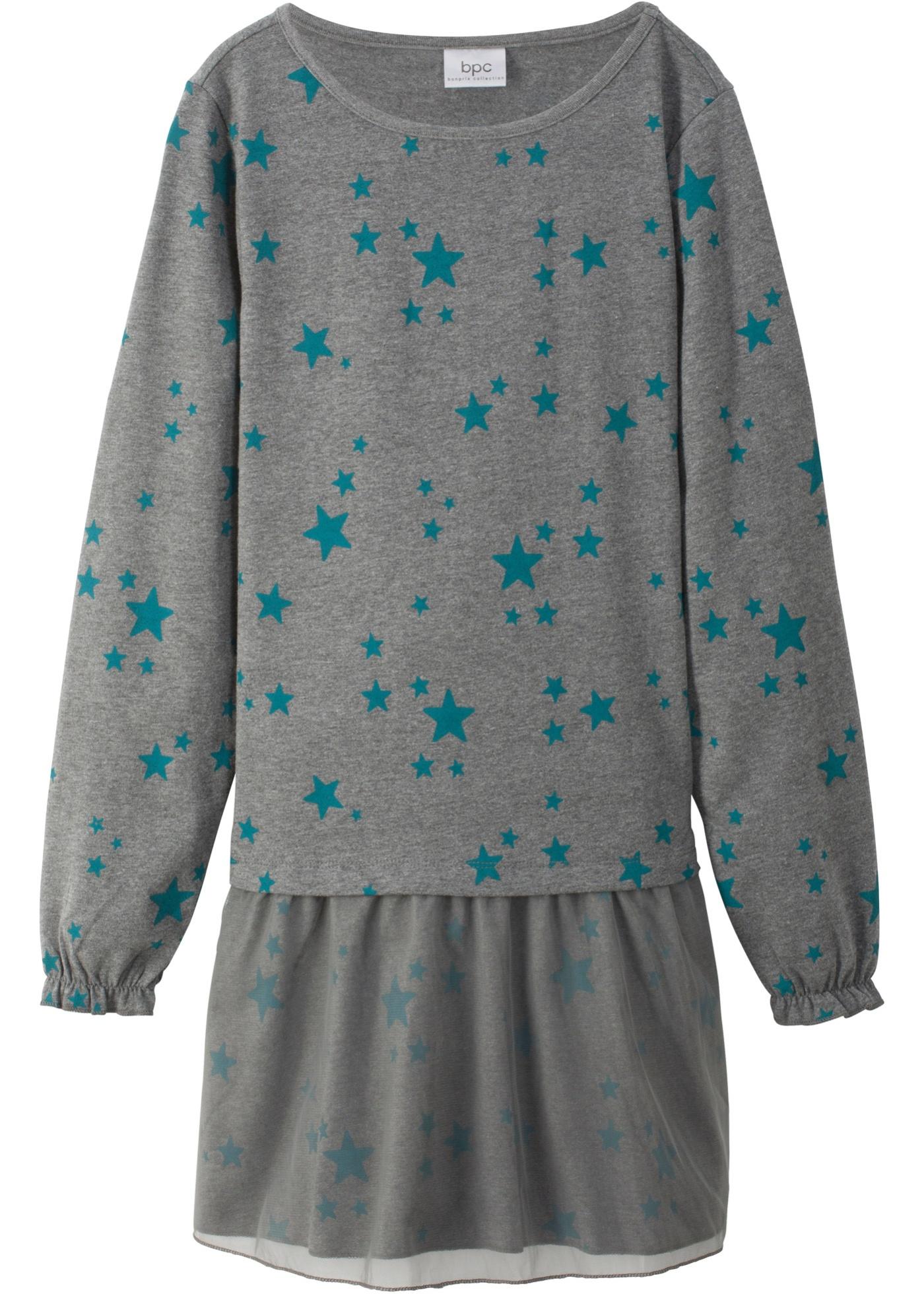 Šaty s dlouhým rukávem a tylovou sukní - Šedá e6795a9cda