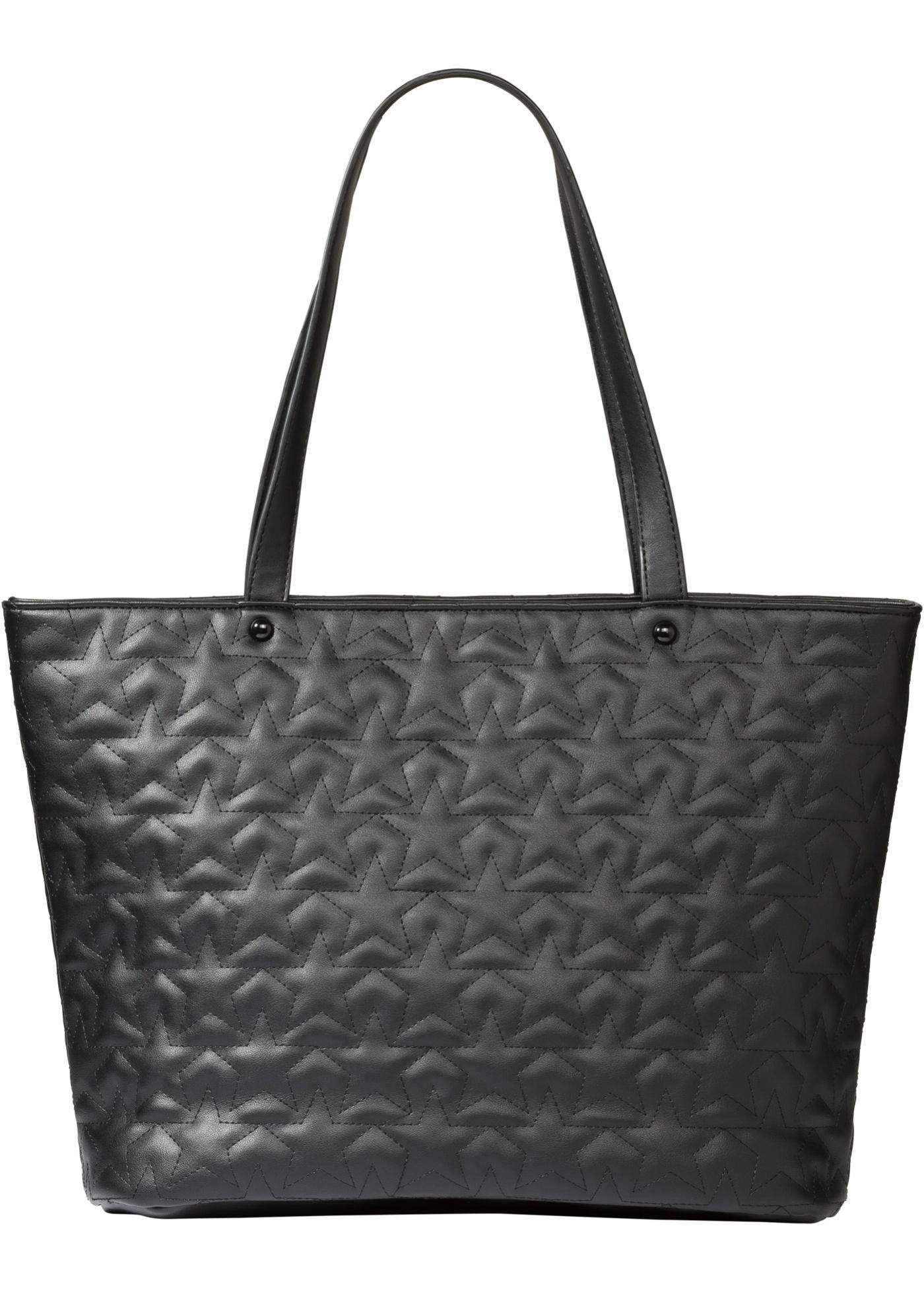 Velká kabelka s prošíváním ve tvaru hvězd - Černá db467088c24