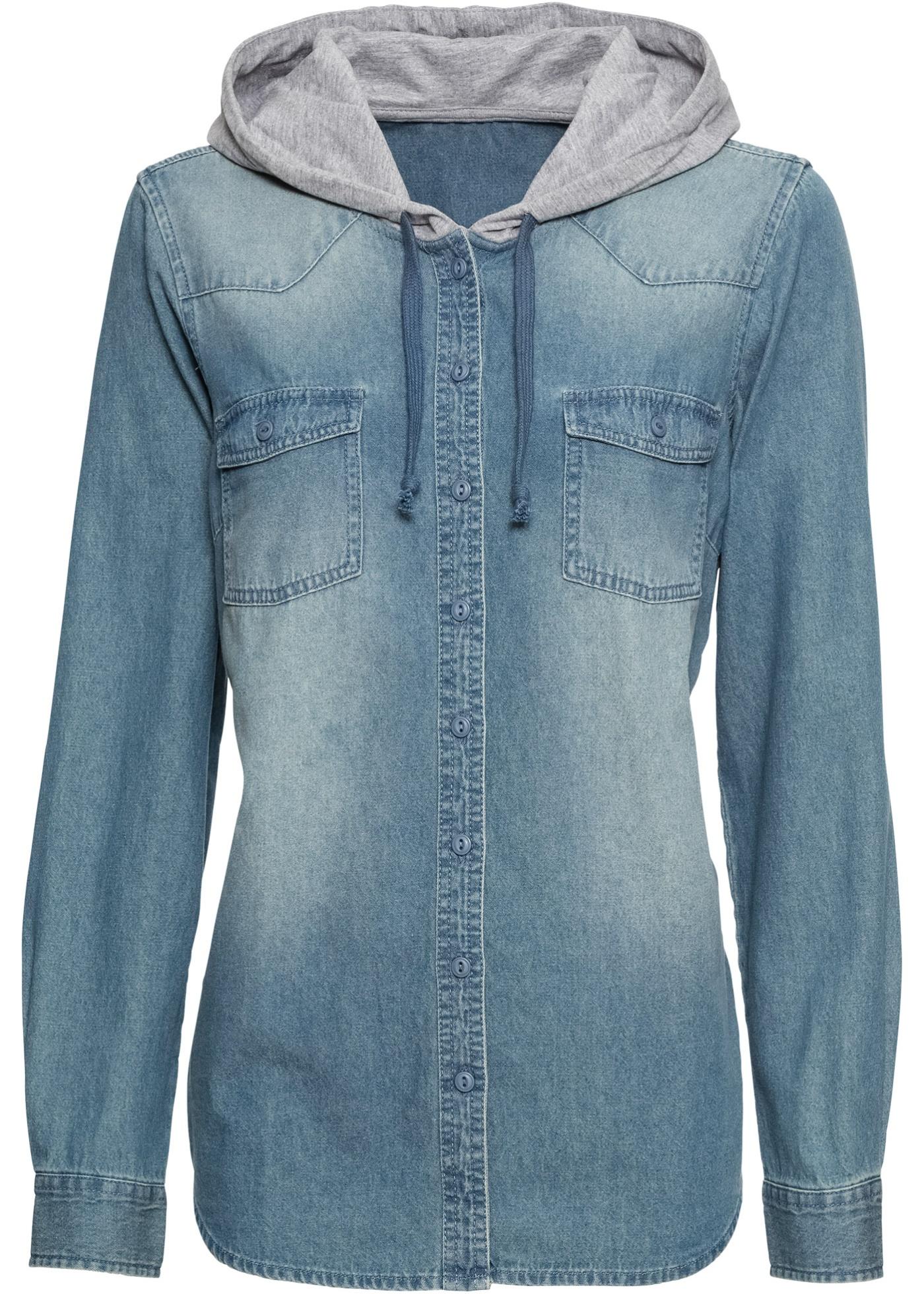 Džínová košile s kapucí - Modrá