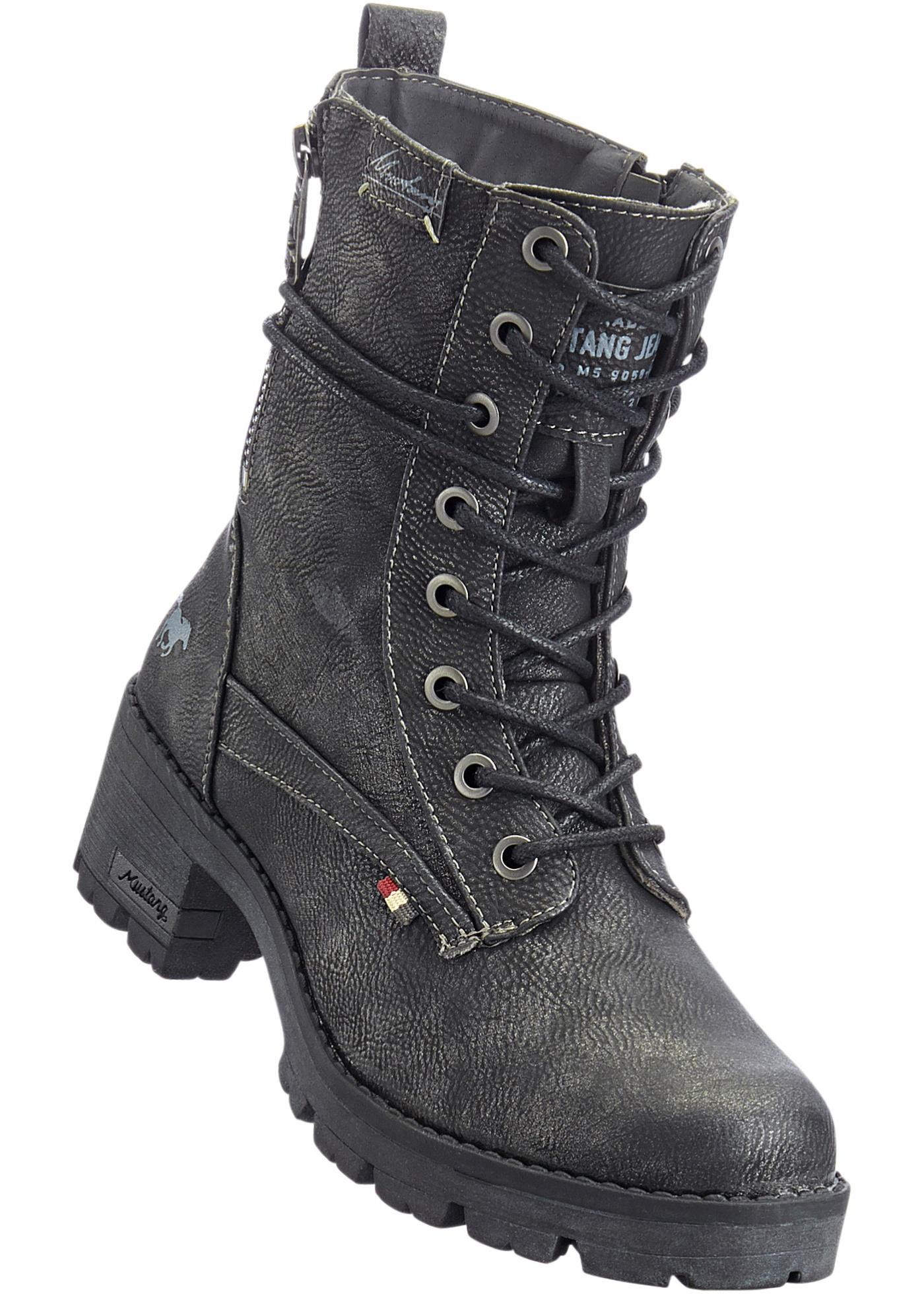112c97413 Kotníčková obuv na šněrování od značky Mustang - Šedá