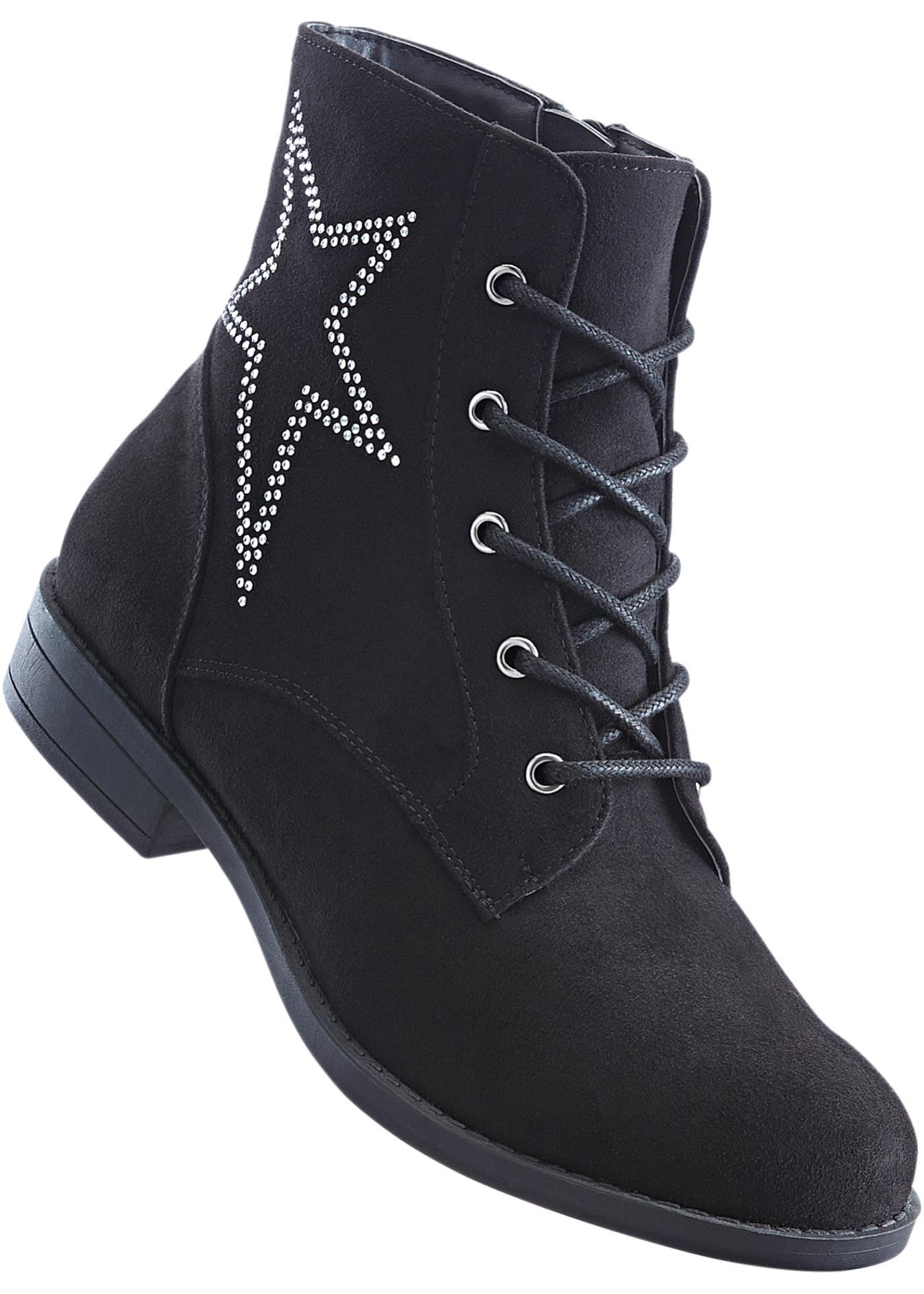 Šněrovací kotníčková obuv - Černá