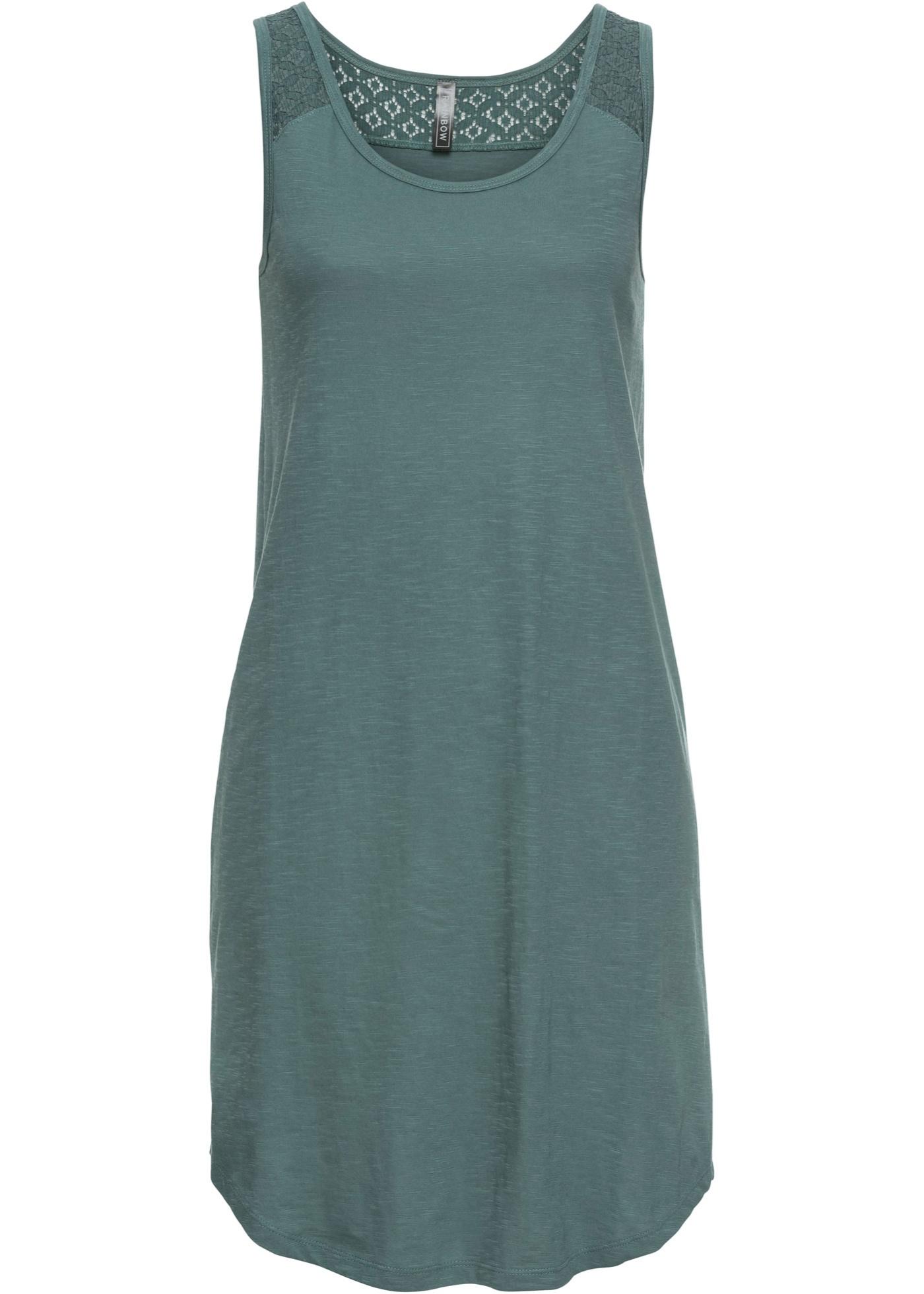 Levné Úpletové šaty s krajkou | Zelená barva šatů