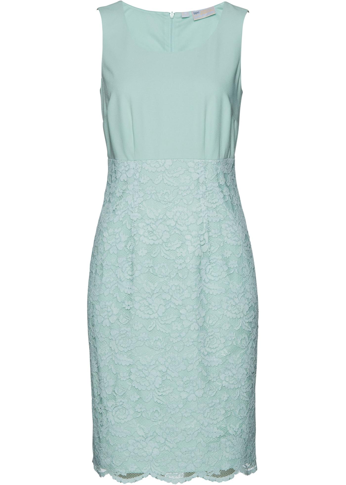 Levné Pouzdrové šaty s krajkou | Modrá barva šatů