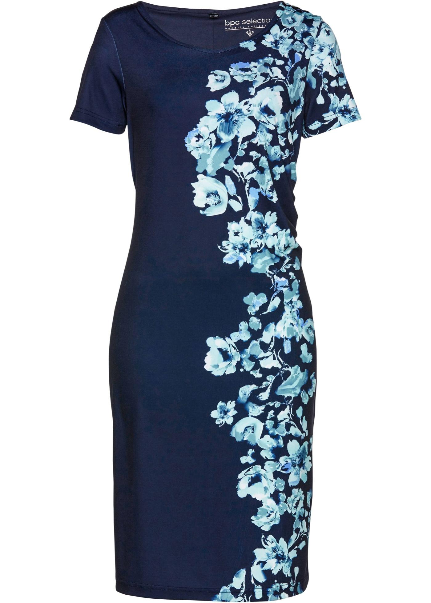 Levné Úpletové šaty s potiskem | Modrá barva šatů