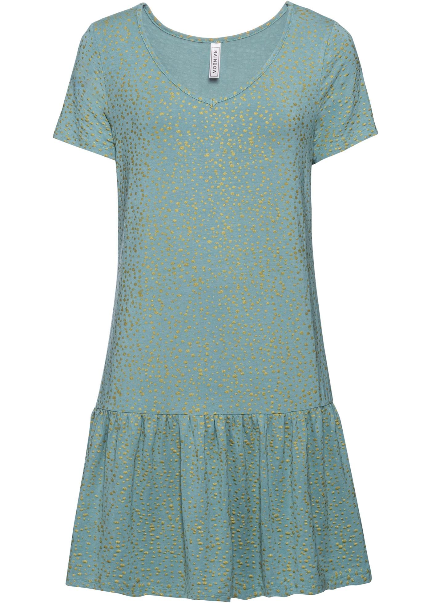Levné Úpletové šaty s volánem a lesklým strukturovým potiskem | Modrá barva šatů