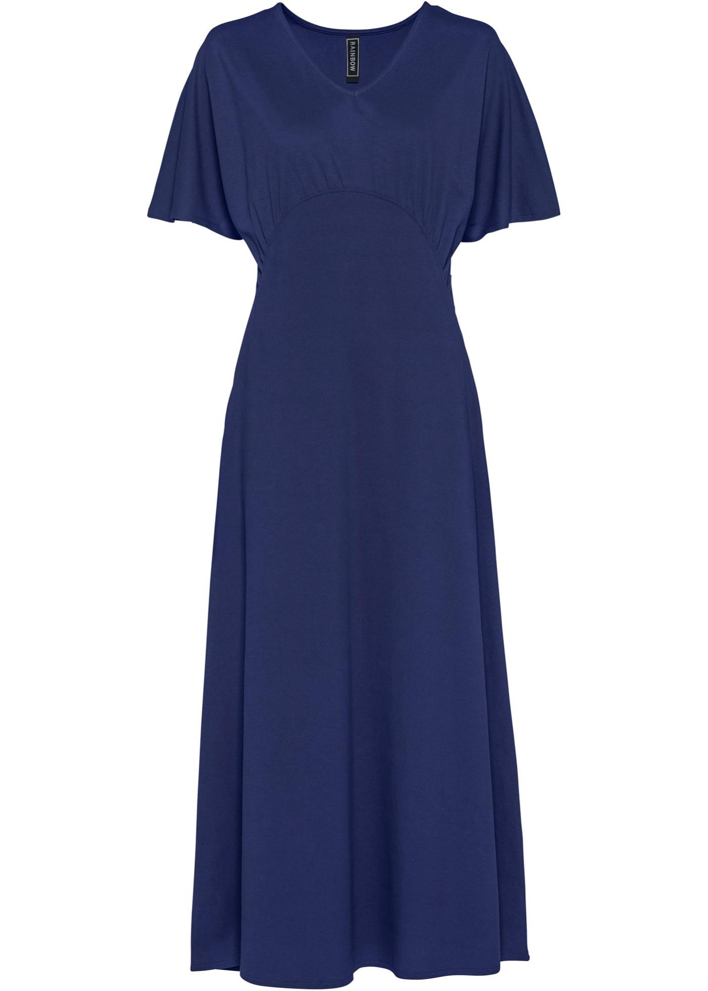 Levné Maxišaty z piké | Modrá barva šatů