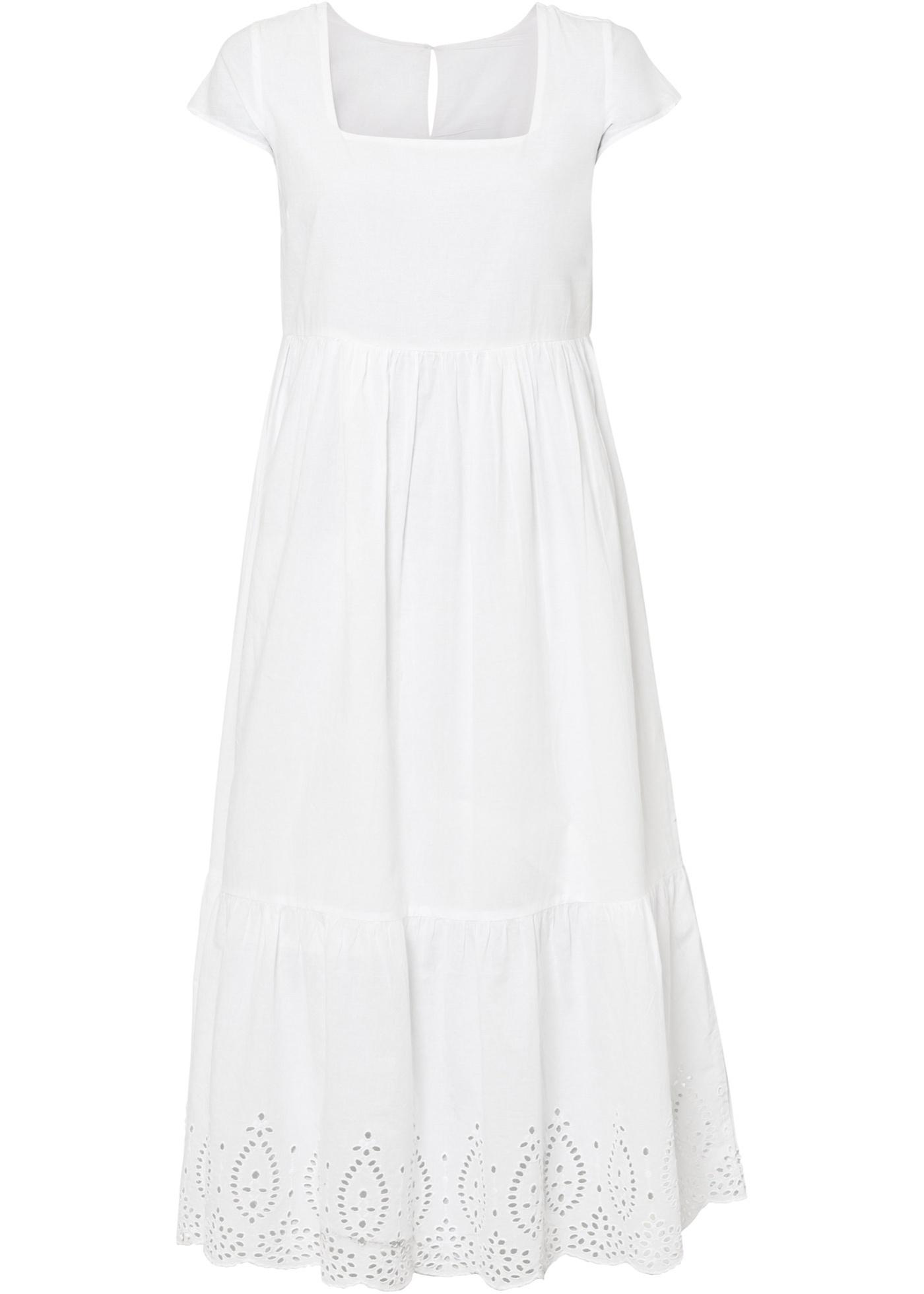 Levné Midi šaty s děrovanou výšivkou | Bílá barva šatů