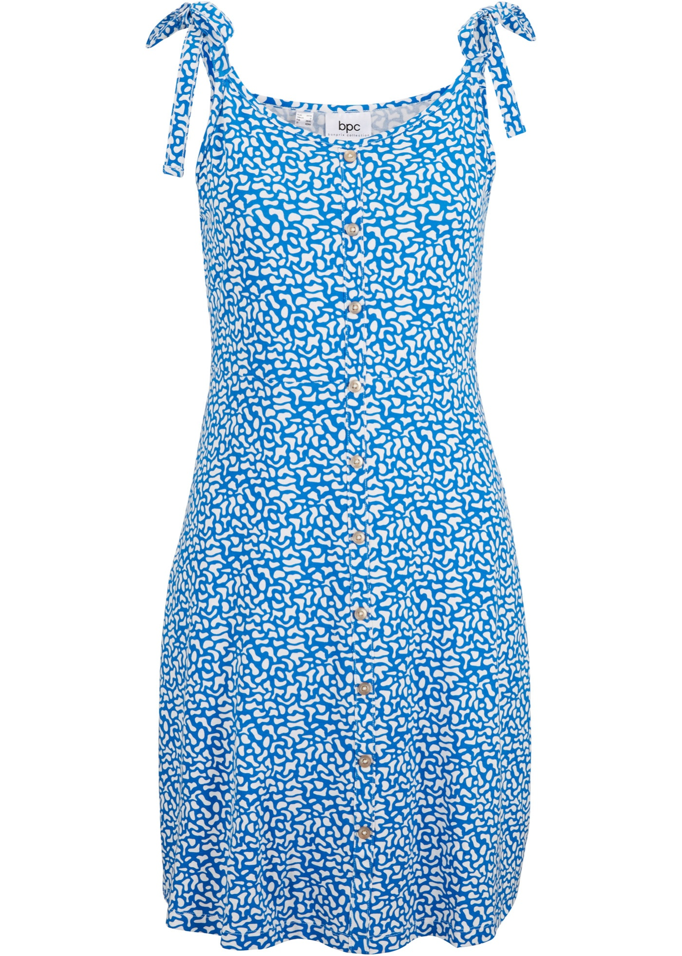 Levné Úpletové šaty s knoflíkovou légou | Modrá barva šatů