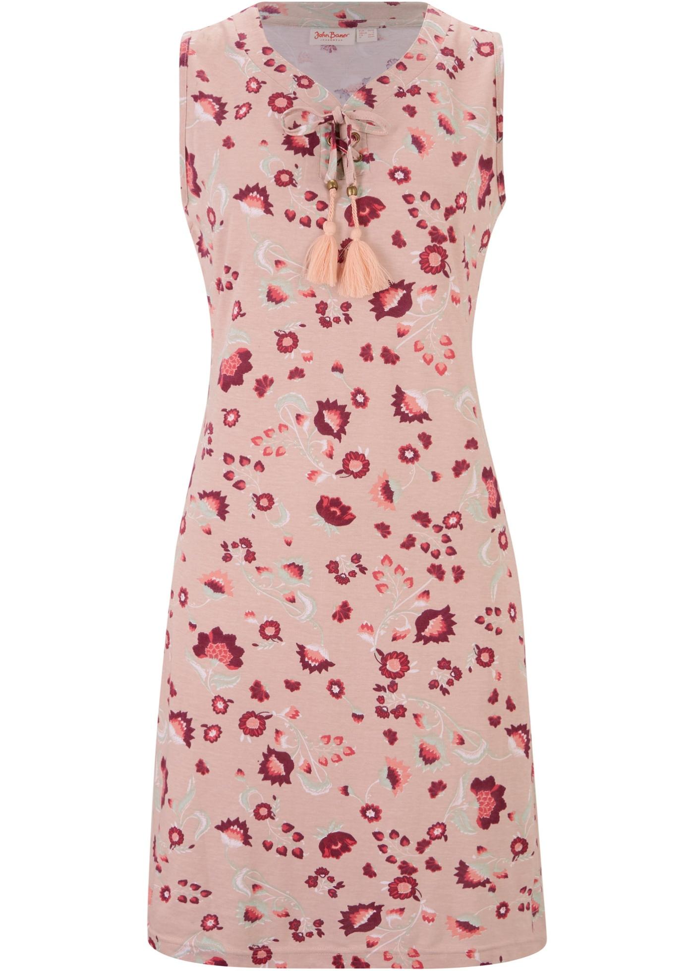 Levné Úpletové šaty s potiskem, bez rukávu | Béžová barva šatů